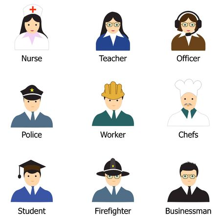 financial adviser: Occupation Icons and People Icons with White Background