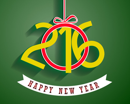 Happy New Year 2016 greeting card