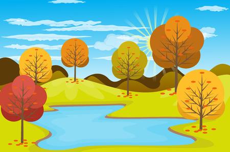 Vector illustration background Autumn Landscape 일러스트