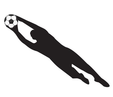 keeper: Soccer Goalie keeper saving a goal football Illustration