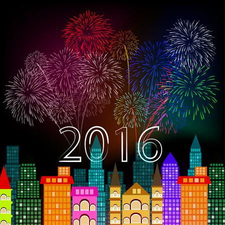 nieuwe jaar vuurwerk boven de stad