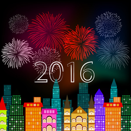 new year fireworks above the city Vector