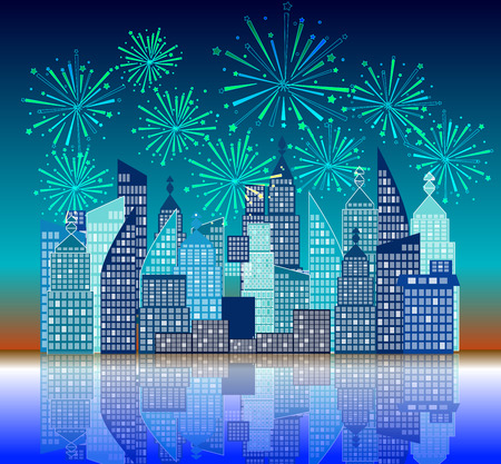 manmade: new year fireworks above the city Illustration