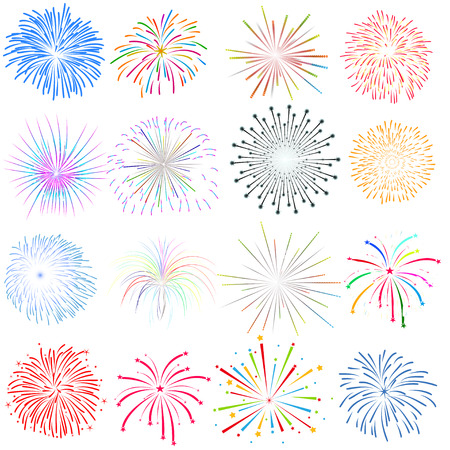 july 4th fourth: happy new year fireworks Illustration