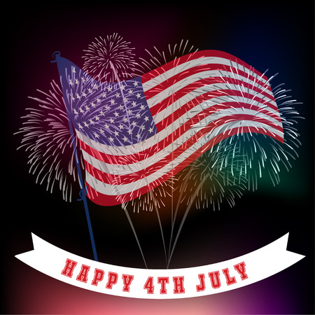 Fourth of July firework with Background 일러스트