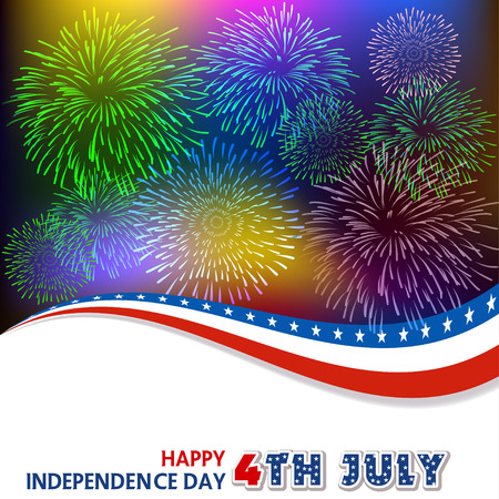 4th: Fourth of July firework with Background Illustration