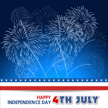 july 4th fourth: Fourth of July firework with Background Illustration