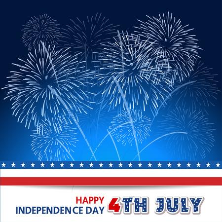 fourth of july: Quarto di fuochi d'artificio luglio con sfondo