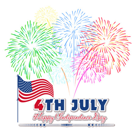 Fourth of July firework with Background Vector