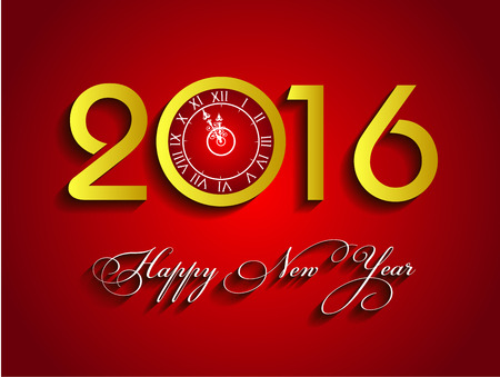 numbers background: Happy New Year 2016 Vector gold background with clock