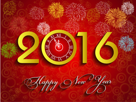 wish of happy holidays: Happy New Year 2016 Vector gold background with clock