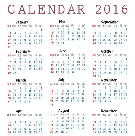 Happy new year 2016 Calendar
