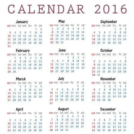 sunday paper: Happy new year 2016 Calendar