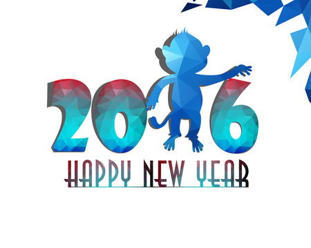 abstract gorilla: Happy New Year 2016 greeting card stylized triangle polygonal model. Year of Monkey.