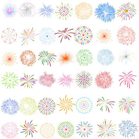 Vuurwerkvertoning voor Nieuw jaar en al viering vectorillustratie