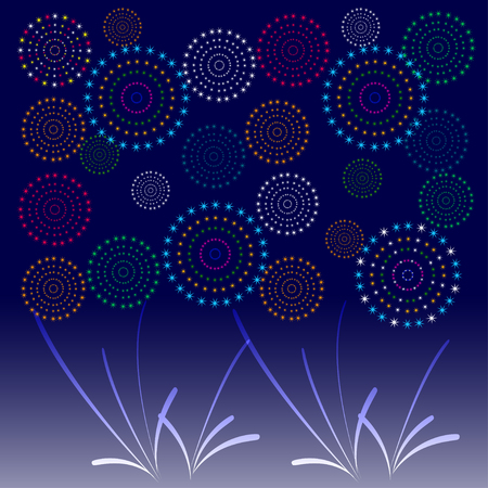 city background: Fireworks Display for New year and all celebration vector illustration