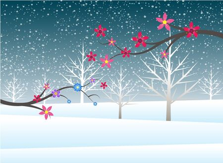 non   urban scene: Holiday winter christmas  landscape background with tree