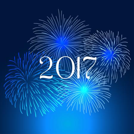 Happy new year fireworks 2017 holiday background design 일러스트