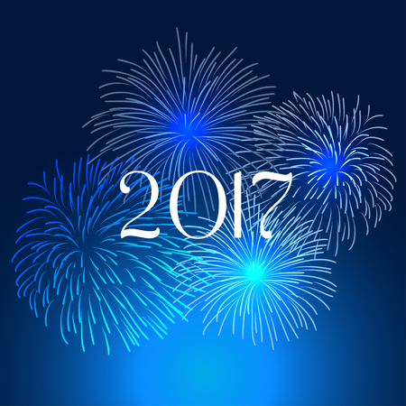Happy new year fireworks 2017 holiday background design Illusztráció