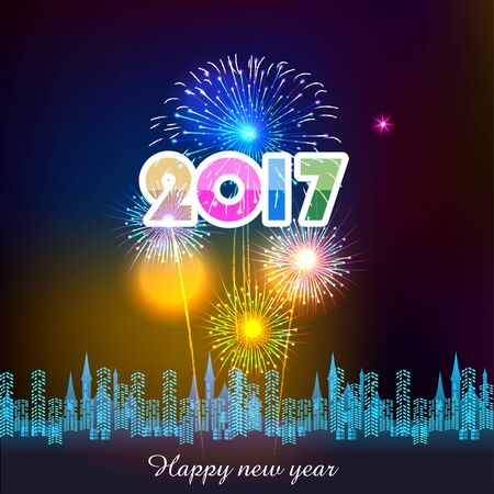 greetings card: Happy new year fireworks 2017 holiday background design Illustration