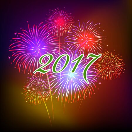 new year: Happy new year fireworks 2017 holiday background design Illustration