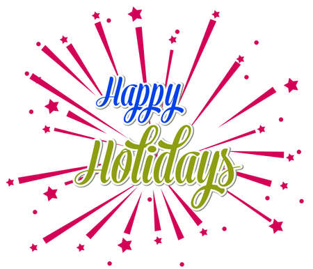 promotion: Happy Holidays  illustration for holiday design, party poster, greeting card, banner or invitation.