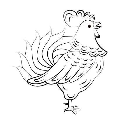 chicken nest: Cartoon rooster. Isolated object for design element