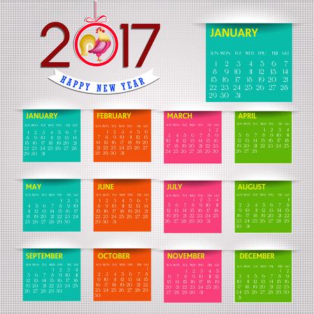 cartoon rooster: Calendar for 2017