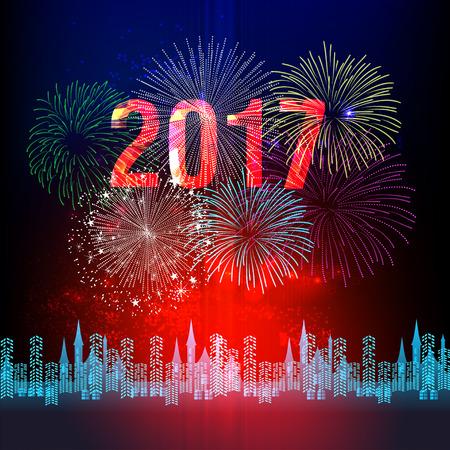 Feliz Año Nuevo 2017 con fuegos artificiales de fondo
