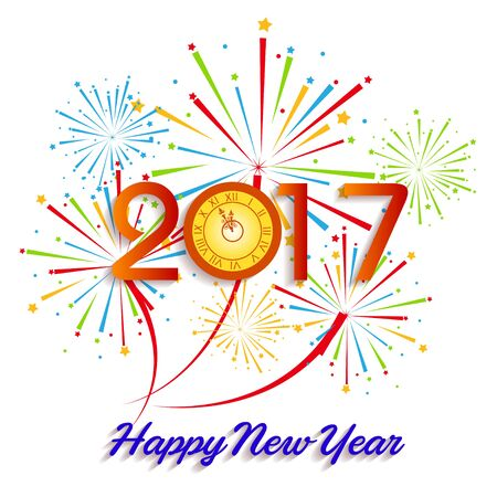 wish of happy holidays: Happy New Year 2017 with fireworks background