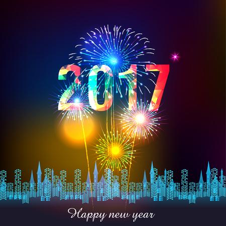 Feliz Año Nuevo 2017 con fuegos artificiales de fondo Ilustración de vector