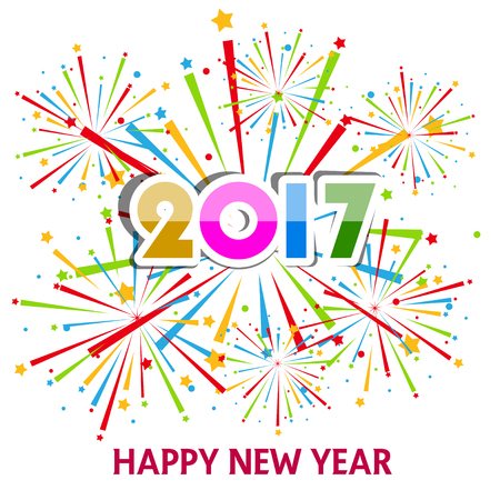 happy holidays card: Happy New Year 2017 with fireworks background