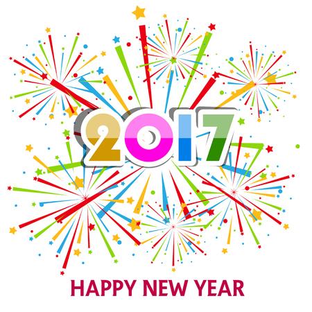 nowy rok: Szczęśliwego Nowego Roku 2017 z fajerwerkami tle