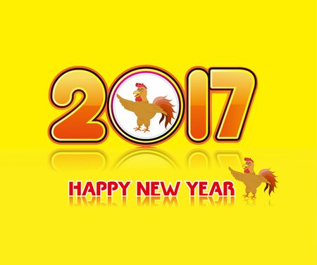 lunar new year: Happy new year 2017 with the rooster design for lunar new year