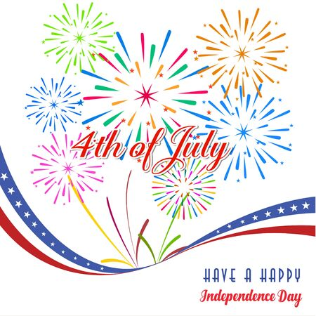 firework display: Happy 4th July independence day with fireworks background