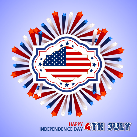 white flag: Happy 4th July independence day with fireworks background