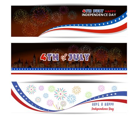flag banner: Happy 4th July independence day with fireworks background
