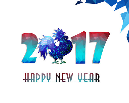 Happy New Year 2017 year of rooster with Beautiful colorful and bright polygon rooster. 일러스트