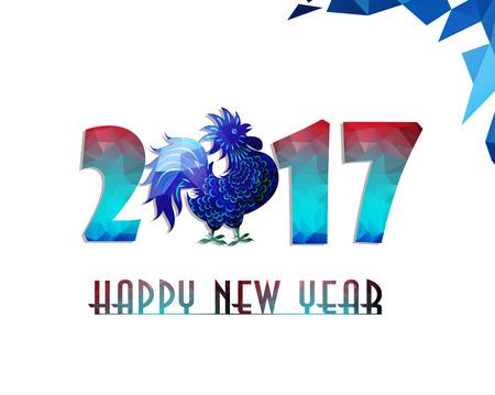 Gelukkig Nieuwjaar 2017 jaar van de haan met mooie kleurrijke en heldere veelhoek haan. Stock Illustratie