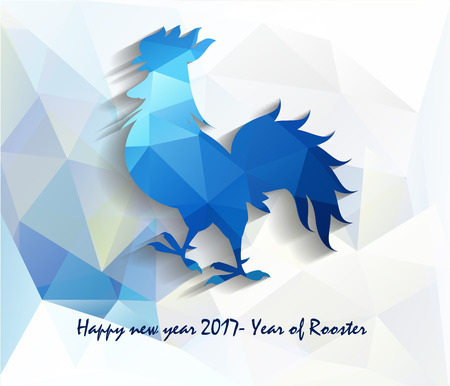 auspicious sign: Happy New Year 2017 year of rooster with Beautiful colorful and bright polygon rooster. Illustration