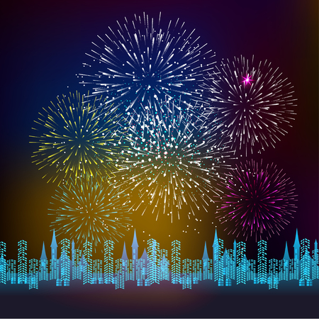 Fireworks Display for New year and all celebration illustration Illustration