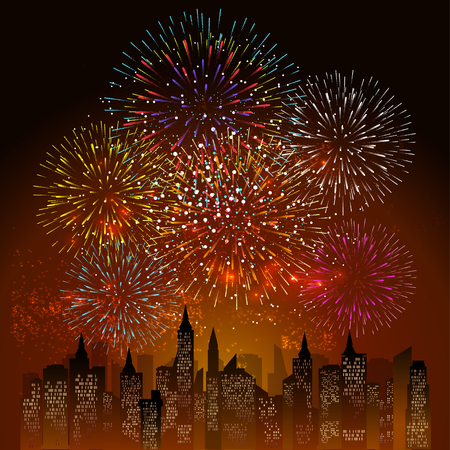 fourth birthday: Fireworks Display for New year and all celebration illustration Illustration