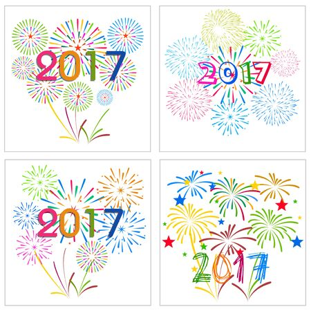 happy newyear: Happy New Year 2017 with fireworks collection Illustration