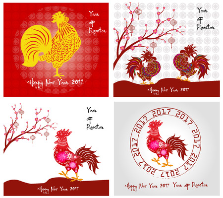 chinese new year: Happy New Year 2017 year of rooster collection