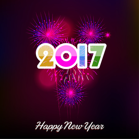 o'clock: Fireworks display happy New Year 2017 Illustration