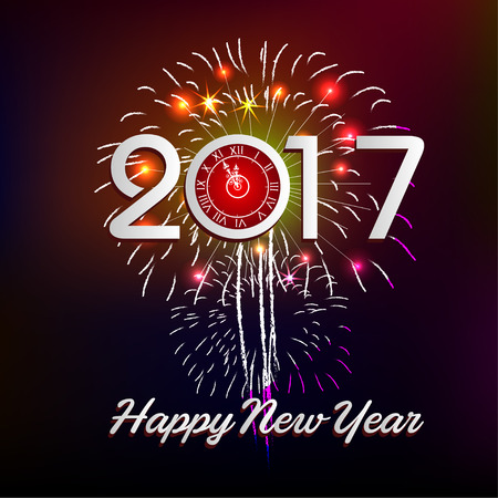 o'clock: Fireworks display happy New Year 2017 Illustration
