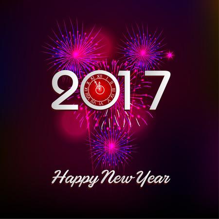 newyear night: Fireworks display happy New Year 2017 Illustration