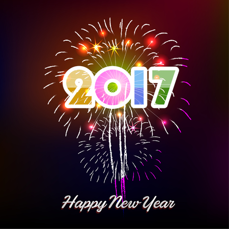 Fireworks display happy New Year 2017 Illustration