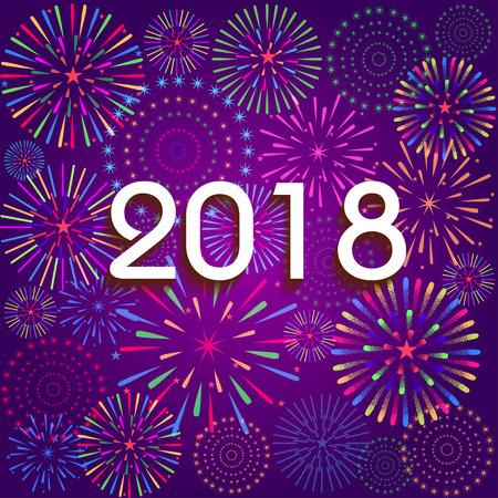 Vector illustratie van kleurrijke vuurwerk. Gelukkig Nieuwjaar 2018 theme