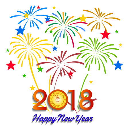 newyear: Vector illustration of Colorful fireworks. Happy new year 2018 theme